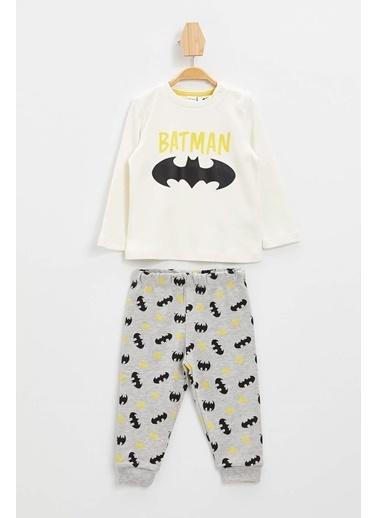 DeFacto Erkek Bebek Batman Lisanslı Pijama Takımı Ekru